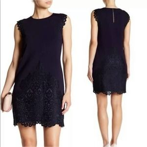 Ted Baker Luccia Lace Border Navy Blue Dress 8